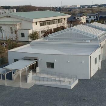 筑西市立関城中学校プール 可動式上屋